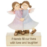 BOXED FRIENDS FILL OUR LIVES WITH LOVE AND LAUGHTER ORNAMENTAL CERAMIC GIFT....